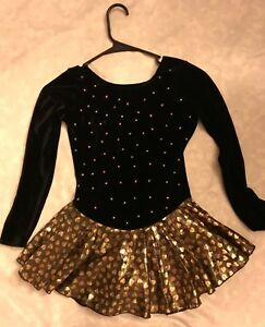 Last Style Black Girls Long Sleeve Figure Skating Comp Dress g47/b26/w24/h26 sz8/10