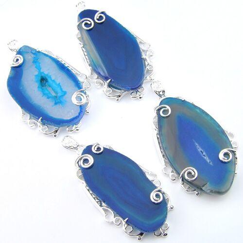 Handmade Unique Bleu Naturel Agate Slap Druse Argent Pendentifs Pour Collier