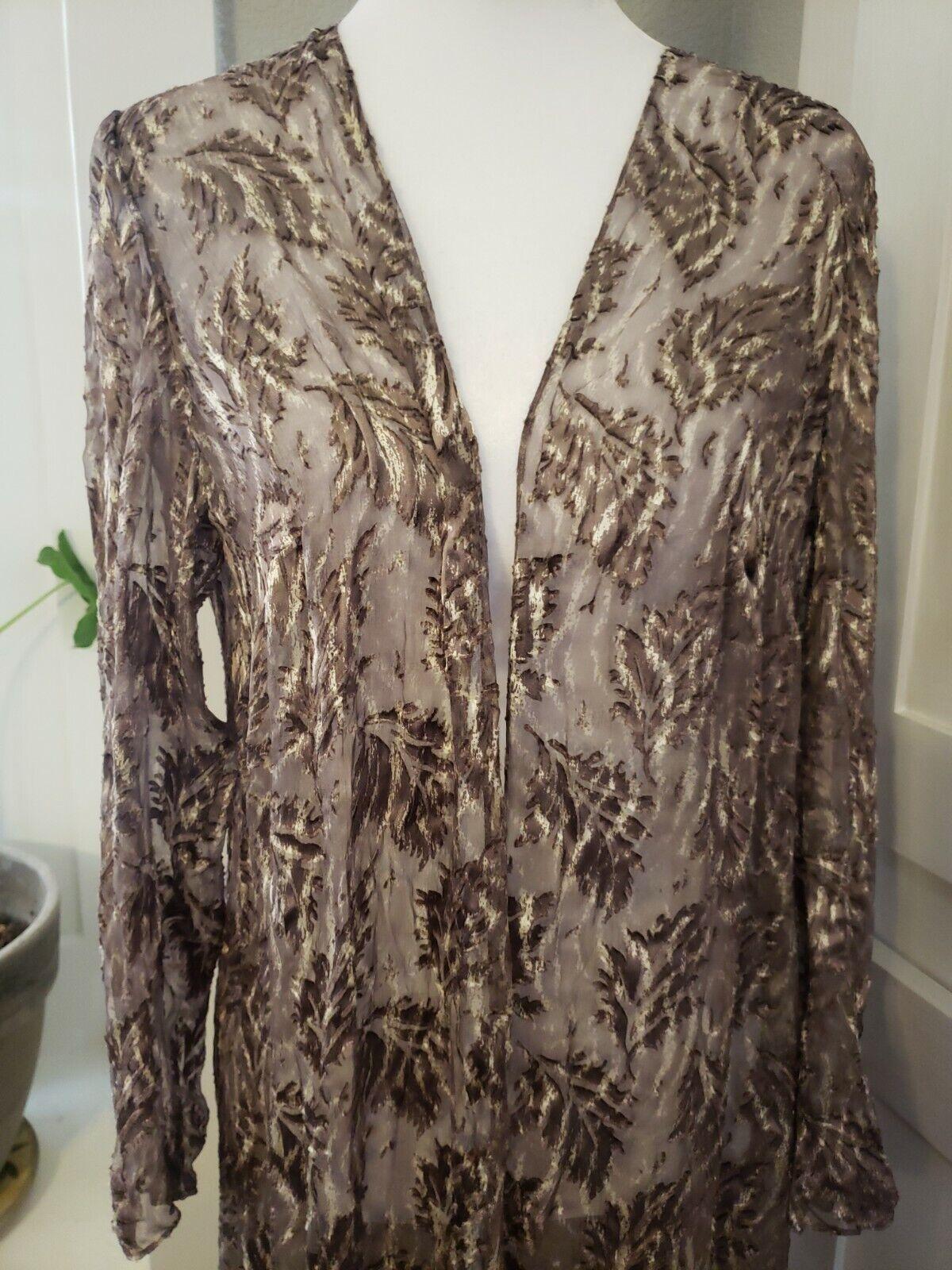 Vtg 90s Badgley Mischka Sheer Silk Velvet Leaves Duster Open Maxi Jacket Top 10