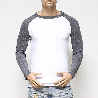 Long Sleeve S-2XL Plain BaseBall T-Shirts Raglan Jersey Vintage Tee New Men's