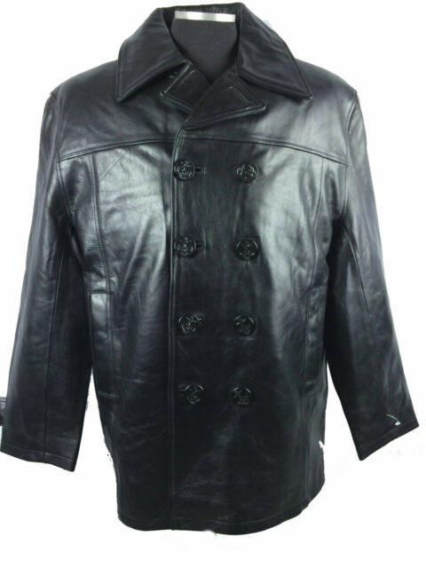 Mens Genuine Leather Pea Coat Navy Style Military Jacket Fur Lining BLACK M L 5x