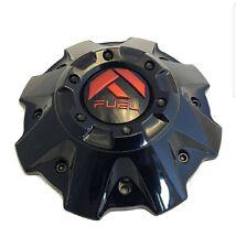 4 CAPS Fuel Wheels Gloss Black Red Logo Custom Wheel Center Cap # 1001-81GBQ