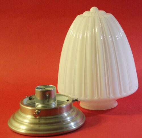 Halter vernickeltes Messing silberfarben BAUHAUS Deckenleuchte Lampe Opalglas