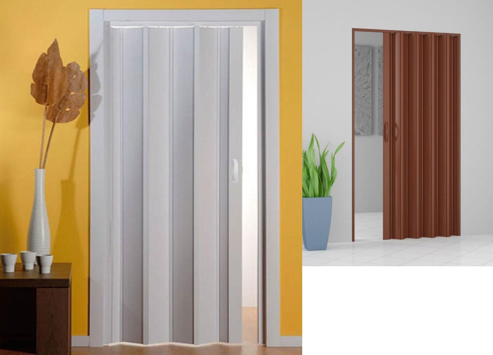 Porta A Soffietto Bianca dettagli su porta a soffietto in pvc con maniglia 82 x 214 cm riducibile  bianca / marrone