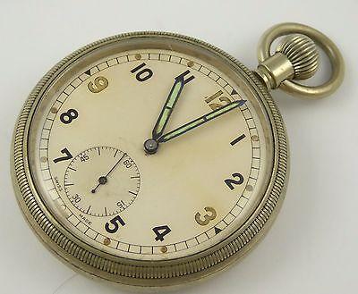 Vintage WW2  Crown Wind Mechanical Pocket Watch Military Broad Arrow GSTP LAYBY