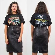 WOMENS VINTAGE 80'S LEATHER PENCIL SKIRT HIGH WAIST CASUAL ROCK FITTED WIGGLE 8