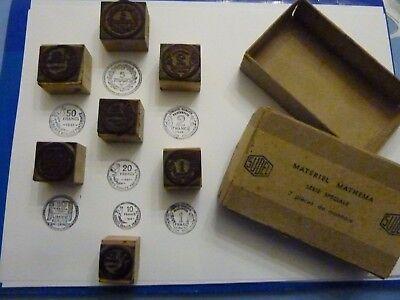 rare SUDEL anciens tampons d'écolier après guerre anciens francs boite complète