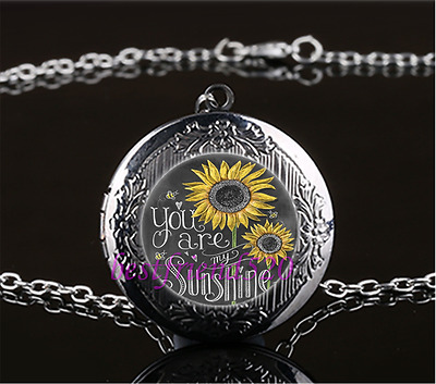 You Are My Sunshine Photo Cabochon Glass Tibet Silver Chain Pendant Necklace