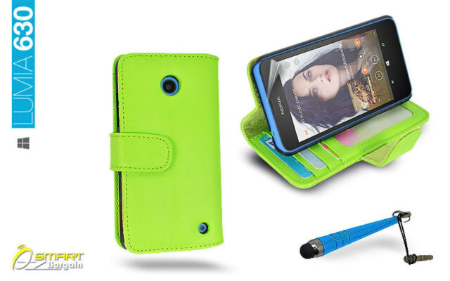 ID Card Wallet Flip Leather Stand Case Cover for NOKIA Lumia 630 635 + Stylus Cb
