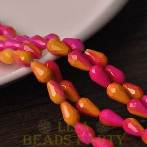 Hot-15pcs-12X8mm-Teardrop-Faceted-Glass-Loose-Spacer-Beads-Rose-amp-Yellow