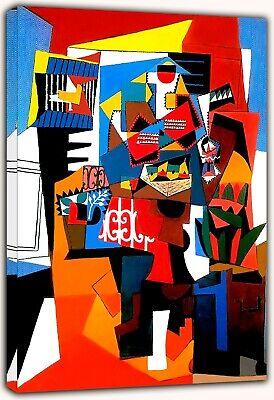 PABLO PICASO CUBIST PORTRAIT PAINT RE PRINT ON FRAMED CANVAS WALL ART DECORATION