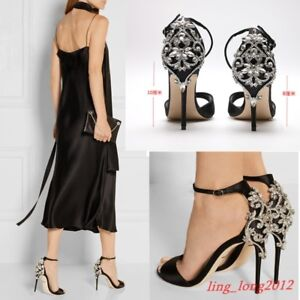 99ca12062979c1 Image is loading Sexy-Womens-Party-Wedding-Satin-Stiletto-High-Heels-