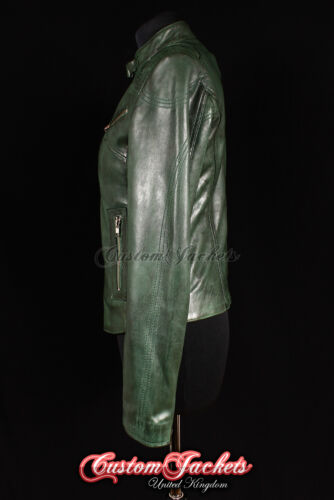 Rush Femmes Veste en cuir vert coupe slim véritable agneau cuir Motard Fille Veste