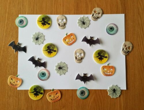 1.6in high 24 HALLOWEEN Edible Toppers ~PRE-CUT~ approx THICK Wafer Card
