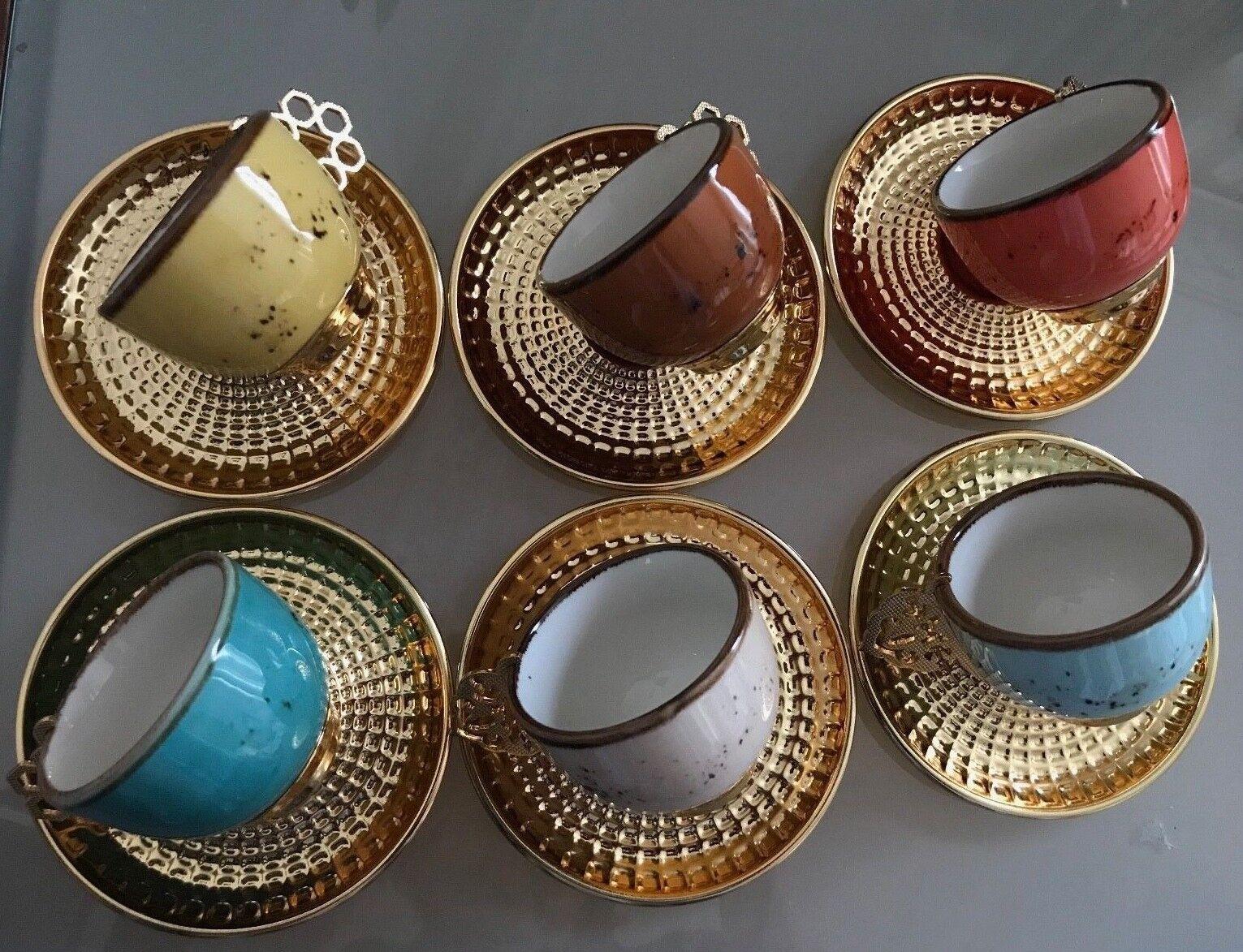 Caffè turco NESCAFE Set (6) COPPA IN VETRO oro in ottone Palazzo rimovibile TITOLARE