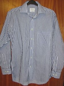 LOOK-Stunning-VAN-HEUSEN-Men-039-s-Two-Tone-Blue-Stripe-Shirt-15-Inch-Collar