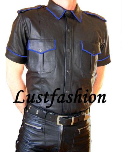 Hemd Lederhemd Blue Leder Biesen Leather Blaue Schwarz Black Shirt Neu Cuir q6wIxU6r4