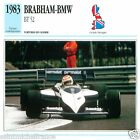 BRABHAM-BMW BT 52 1984 CAR VOITURE GREAT BRITAIN GRANDE BRETAGNE CARD FICHE