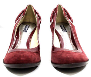 Sperry-Top-Sider-Womens-Shoes-Wood-Wedge-Slip-Rope-Suede-Leather-Burgundy-Size-8