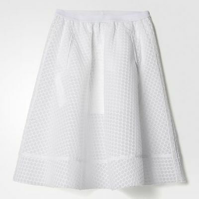 adidas Originals Women/'s Mid Length Mesh A-Line Fashion Skirt Casual White