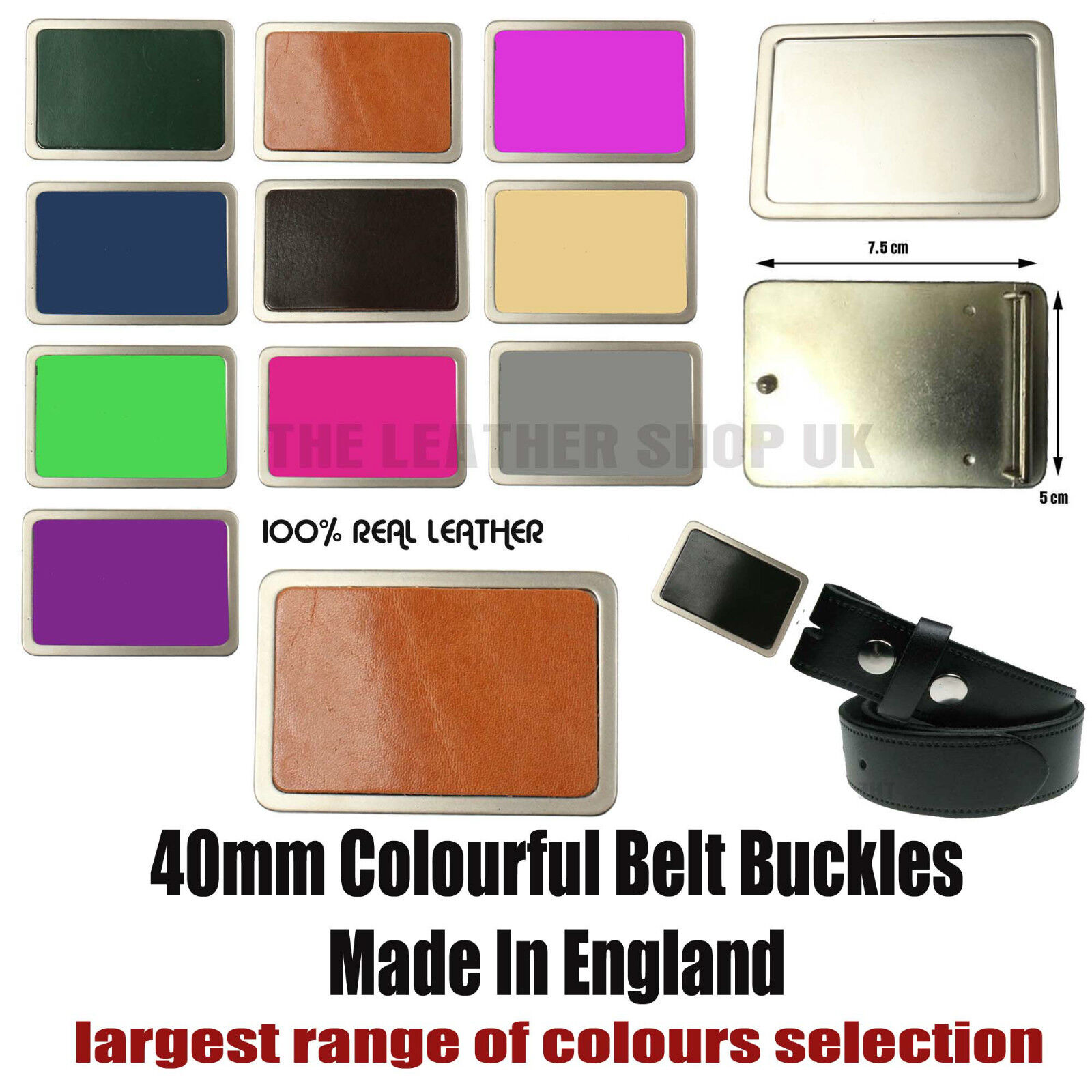 40mm New Best High Quality Removable Colourful Leather Belt Buckles Made In UK