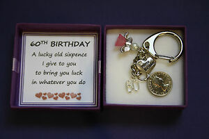 Image Is Loading LUCKY SIXPENCE KEEPSAKE CHARM KEYRING 60th BIRTHDAY Gift