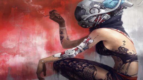 A4 A3 A2 A1 A0| Futuristic Punk Girl Poster Print T243