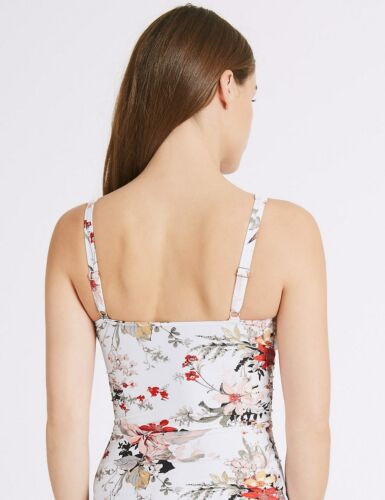 M /& S COLLECTION FLORAL PRINT WHITE MIX TANKINI