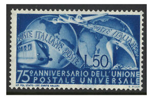 Italy-1949-50L-UPU-75th-Anniversary-Mint-Lightly-Hinged-Stamp-Scott-514-4-17