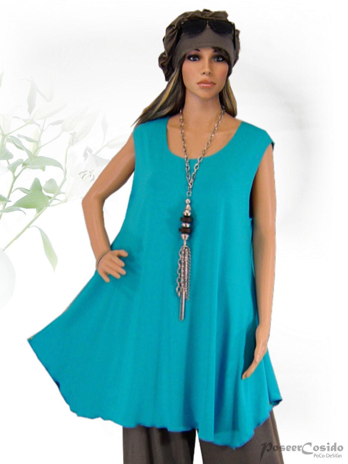 PoCo DeSiGn LAGENLOOK Top Long Shirt Jersey Tunika 42-58  L-XL-XXL-XXXL türkis