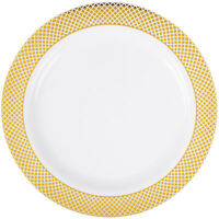 12 Pk. 9 Dinner Plates China Look Masterpiece Style Wedding Disposable Plastic