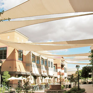 Beige Custom Triangle Waterproof Sun Shade Sail Screen Outdoor Yard
