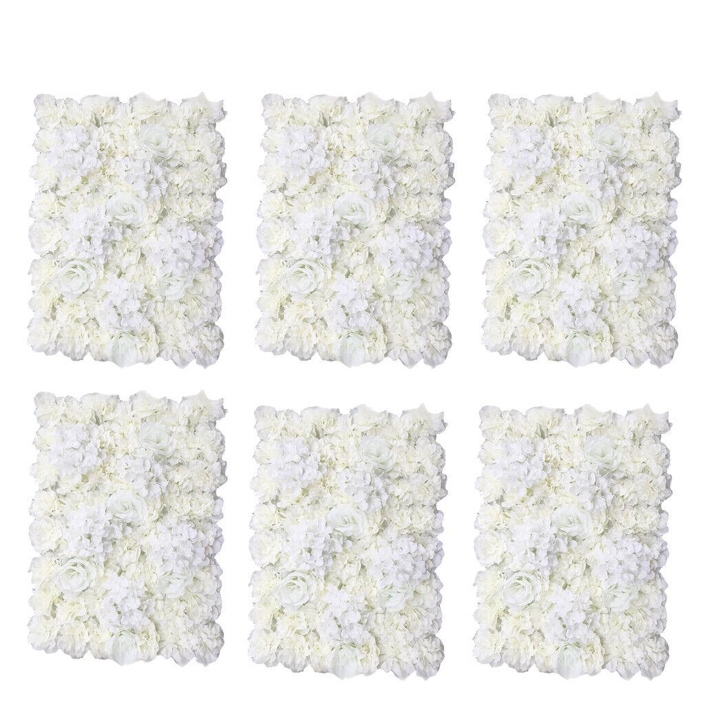 6pcs fleur artificielle Mur Panneau Mariage Venue Floral Décor 60 x 40 cm