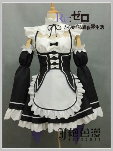 Re:Zero kara Hajimeru Isekai Seikatsu Ram Rem Cosplay Costume Housemaid Dress