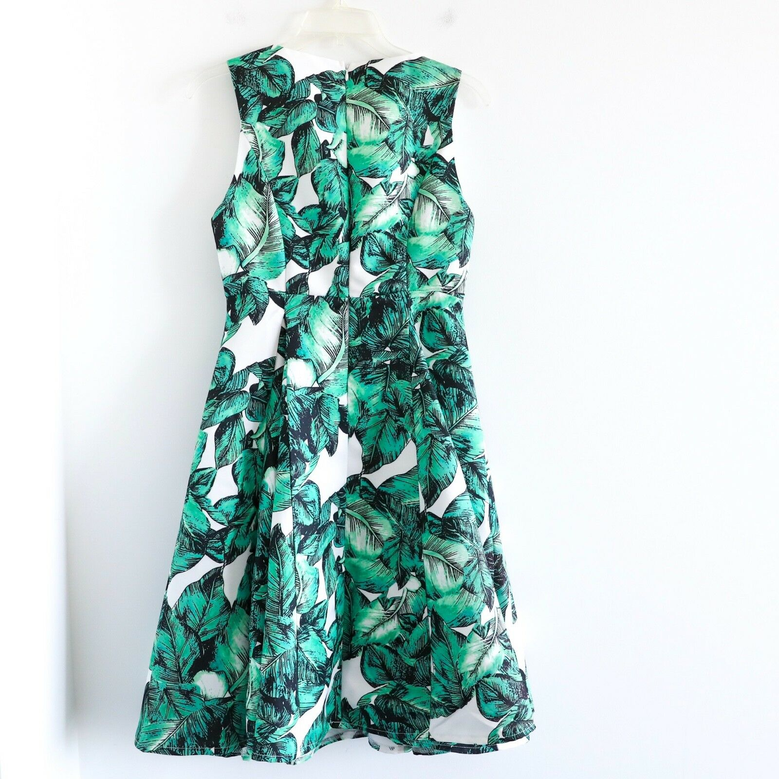 Ina The Amber Amber Amber 140  tropical white green leaves flare knee length dress S small 81cb55