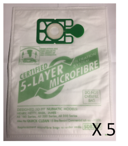 5 Sacchetti per aspirapolvere in microfibra per Numatic Henry Hetty Basil James Hoover