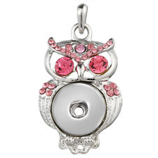 Hot Crystal Jewelry Tassel Necklace Pendant Fit 18mm Noosa Snap Button owl N138