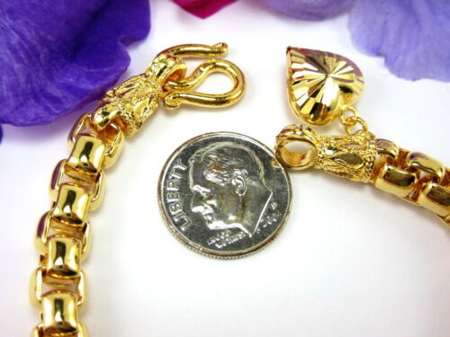 "CLASSY BOX LINK HEART CHARM BRACELET 7/"" 22K 24K Gold GP Baht Thai Jewelry GT37"