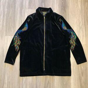 Bob-Mackie-Womens-Large-Peacock-Embroidered-Black-Velvet-Zip-Up-Jacket