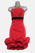 KAREN MILLEN Red & Black Strapless Pleated Details Cocktail Evening Dress UK 14