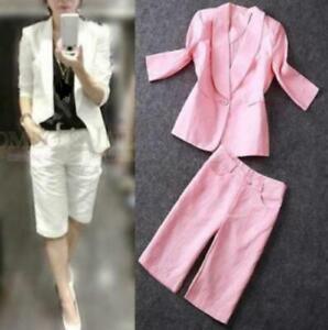 2PCS Womans Dress Work Blazers Jacket Cotton Linen Short Pants S-2XL Suit Summer