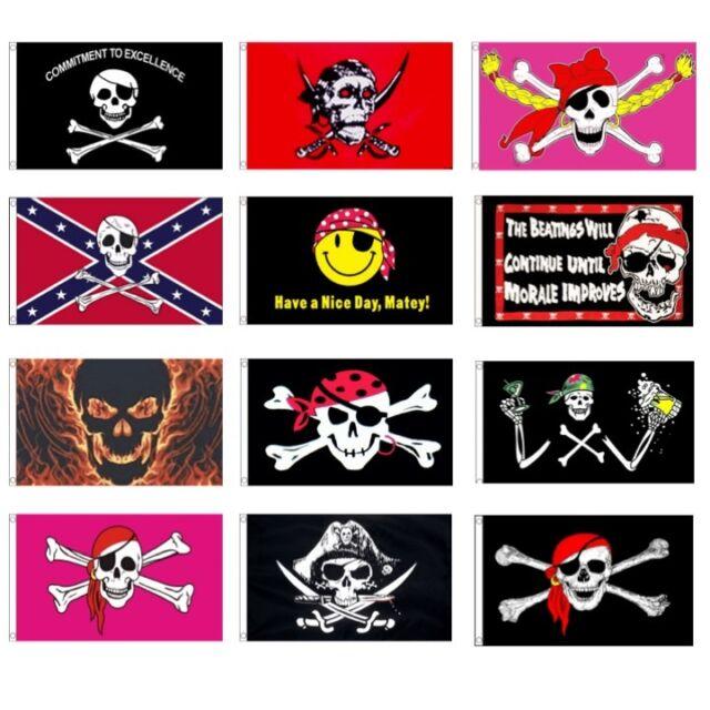 SKULL AND CROSS BONES PINK  Flag  5ft x 3ft