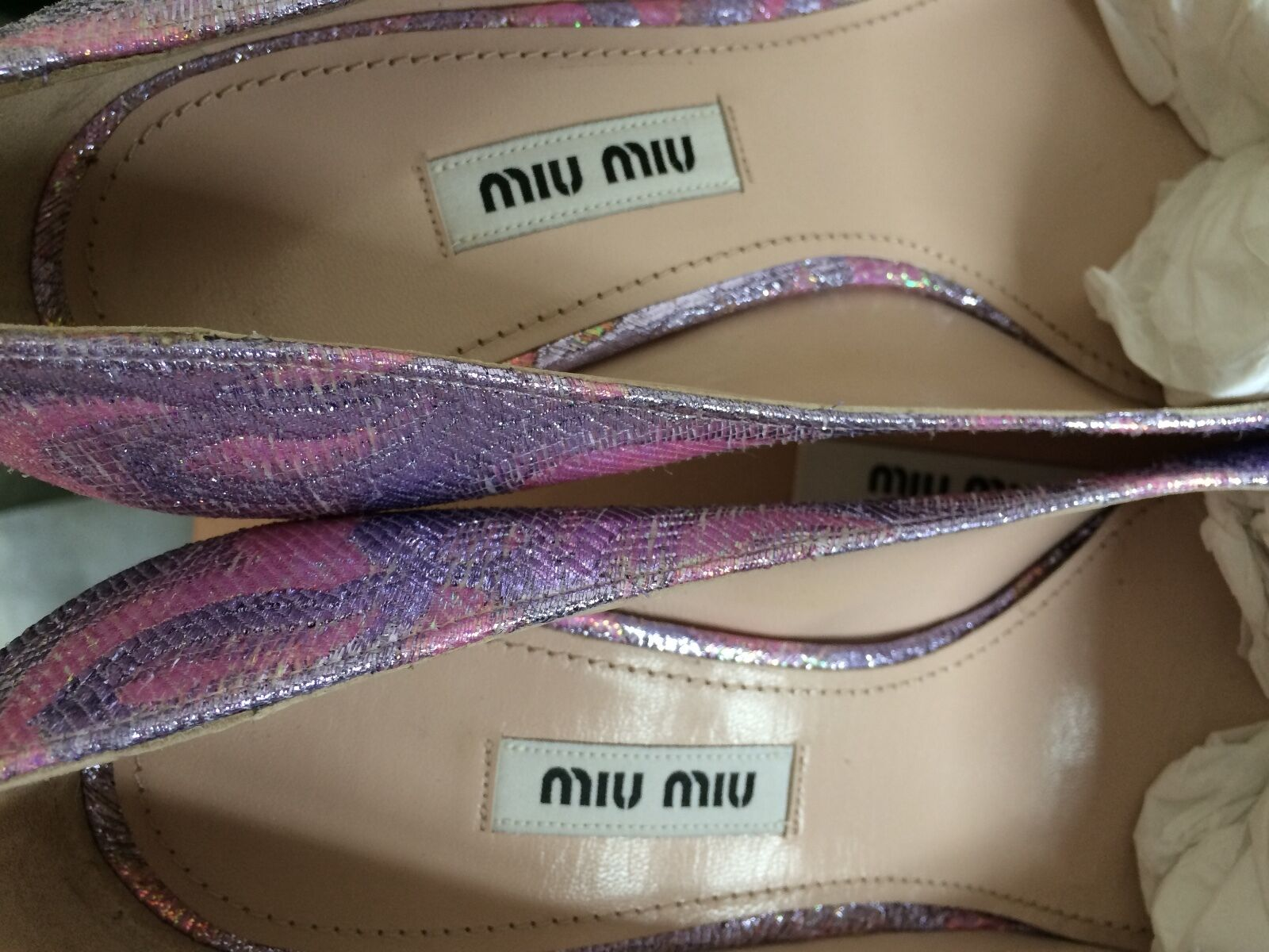 NIB  675 Miu Miu Miu Miu Jacquard Point Toe Pumps 37.5 7.5  purpleC 0d814e