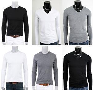 Mens-Shirts-Casual-Plain-100-Cotton-T-Shirts-Shirt-Tops-V-Neck-Crew-Round-Neck