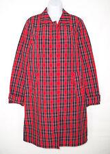 NEW J. Crew Collection 2 Red Plaid Trench Coat Raincoat Nylon Crisp Unlined