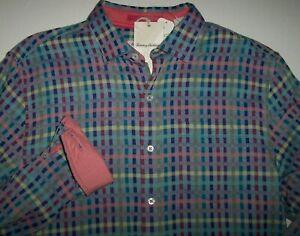 NWT $145 Tommy Bahama Red Plaid Cotton Blend Long Sleeve Shirt Mens L XXL