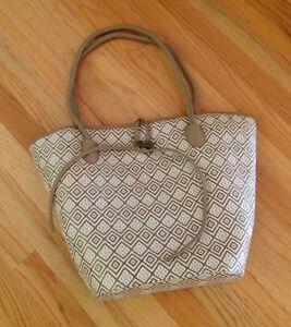 84c675d82e0e Image is loading Neiman-Marcus-BEIGE-WHITE-Straw-Woven-Embroidered-Tribal-