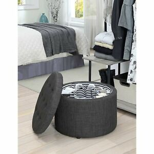 Fantastic Details About Charcoal Gray Round Tufted Storage Ottoman Footstool Fabric Seat Shoe Storage Ibusinesslaw Wood Chair Design Ideas Ibusinesslaworg