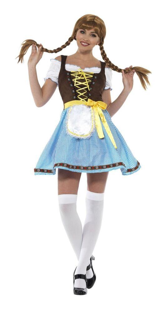 Discret Femme Olga Bavarois Fancy Dress Costume Outfit Allemand Lederhosen Sexy Fun Bleu êTre Hautement Loué Et AppréCié Par Le Public Consommateur
