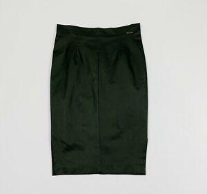 Exsy-gonna-minigonna-tubino-stretch-donna-verde-lucida-W28-tg-42-skirt-T5209